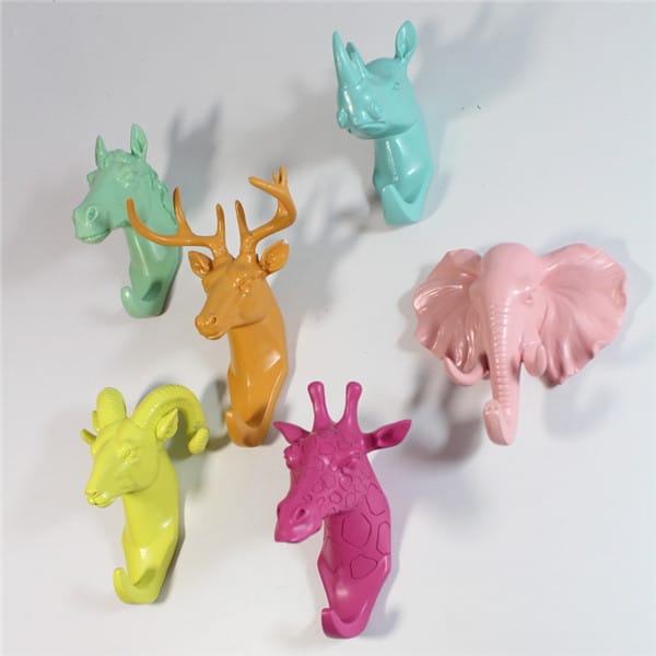 Custom Design Resin Animal Bust Hanging Wall Hooks