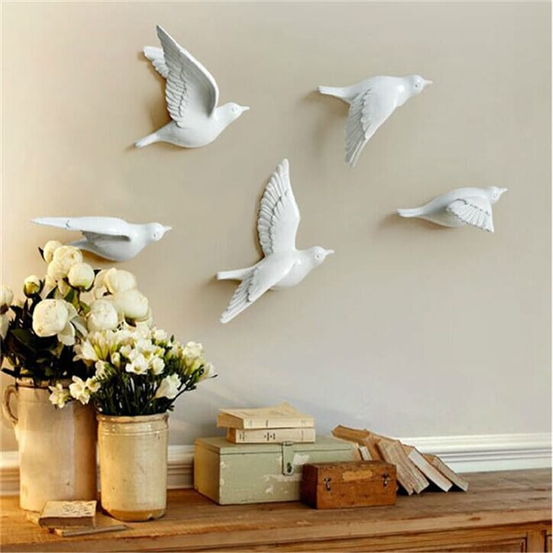 GOLDEN SILVER FLYING BIRDS WALL ART