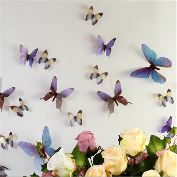 Colorful 3D Printing PVC Butterfly Sticker For Wall Decor