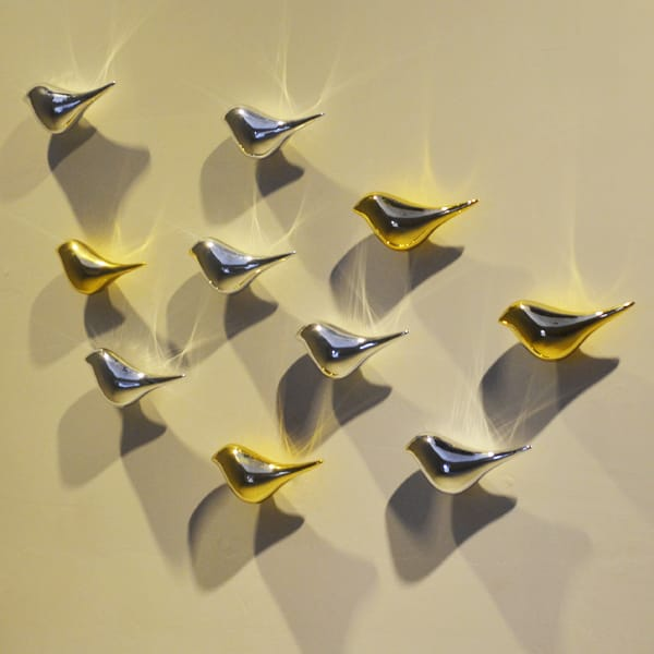 Gold and Silver Electroplated Resin Bird Wall Decor
