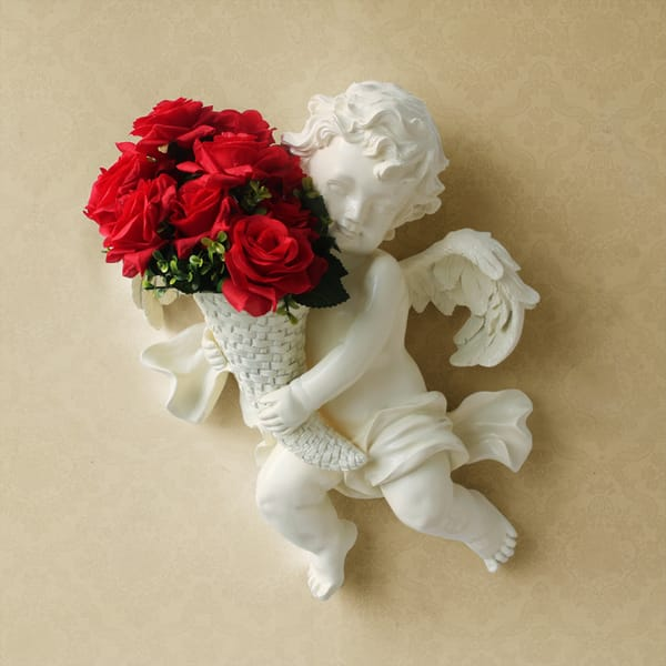 Polyresin Boy Angel Wall Mount Vase