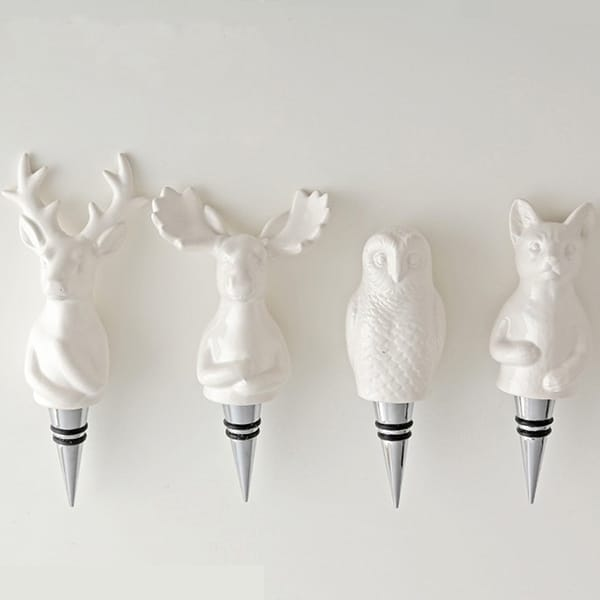 Resin 3D White Animal Bottle Stopper Wine Stopper