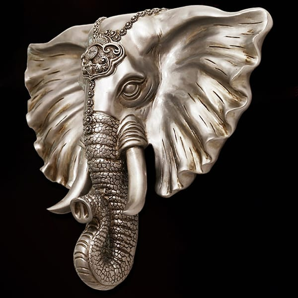 Resin Elephant Head Wall Sculpture Art Piece