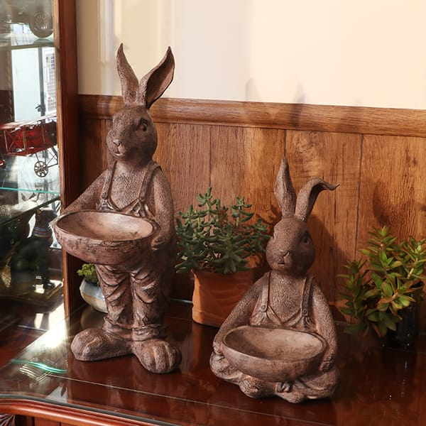 Resin Brown Color Antique Vintage Rabbit Sculpture With Tray
