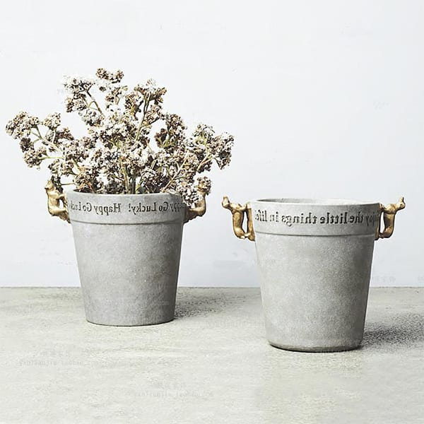Resin Fashion Grey Concrete Style Flower Pot
