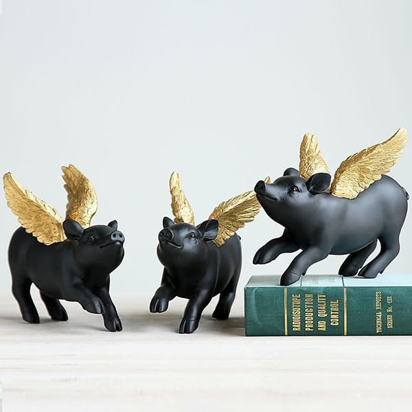 Resin Black Pig With Golden Wing Decor