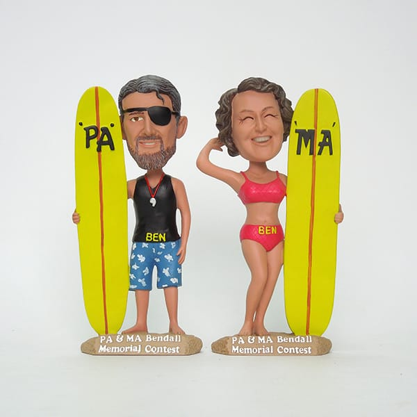 Resin Surfing Figurine with BobbleHeads custom