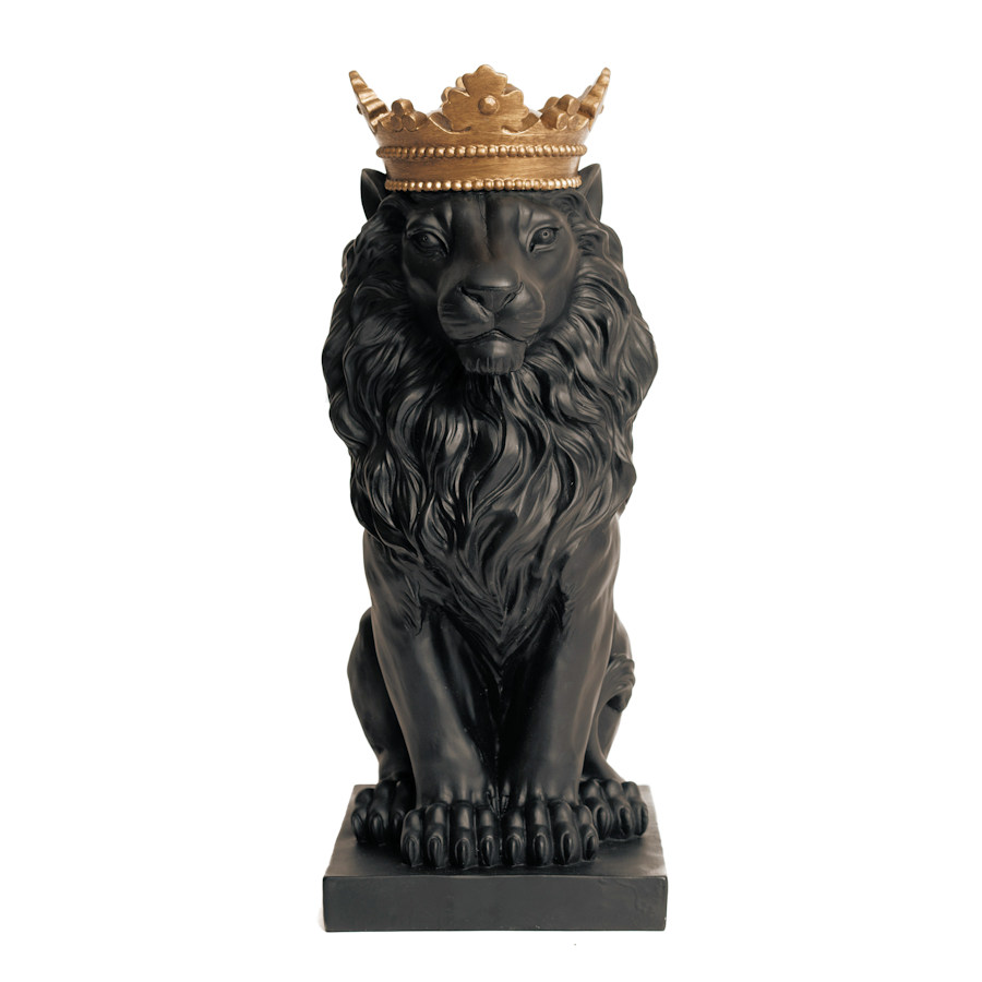 Resin Black Lion Statue With Golden Crown