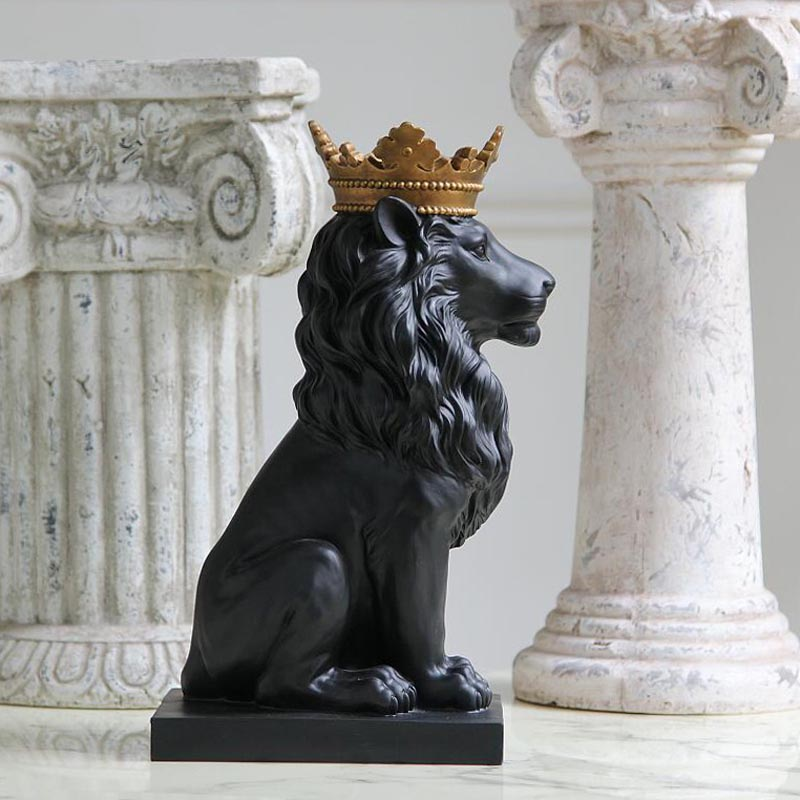 Decoration Home Decor Items: Resin Black Lion Statue With Golden Crown