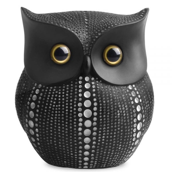 Resin Black and White POP DOT Art Owl Figurines
