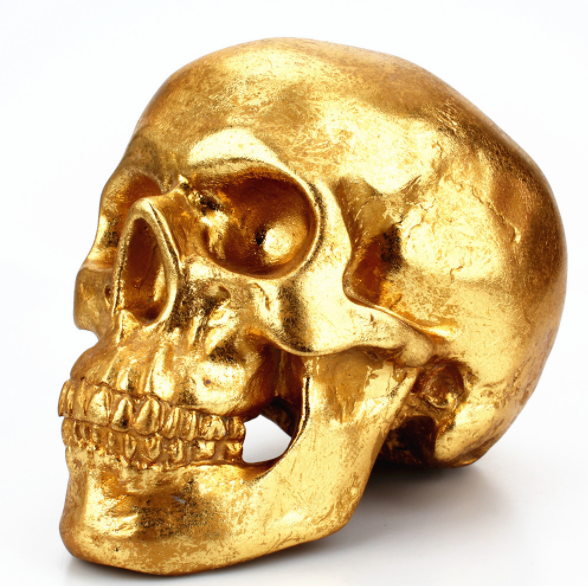 Polyresin Gold Skull Deocr Gold Foil Gold Skull Head Collectible Skeleton
