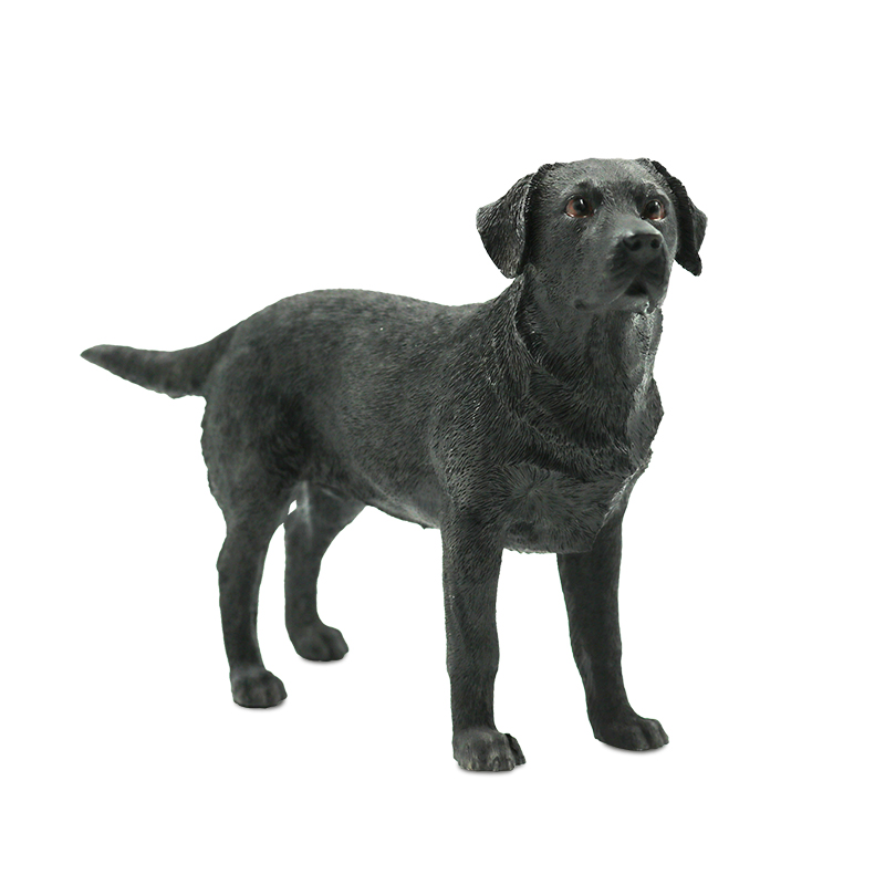 Resin standing black Labrador dog figurine